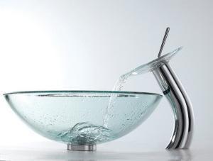 Современная, стильная раковина из прозрачного, каленого стекла