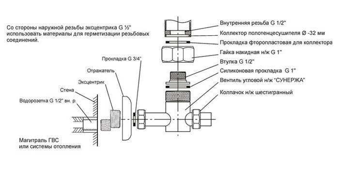 Схема подключения вентиля