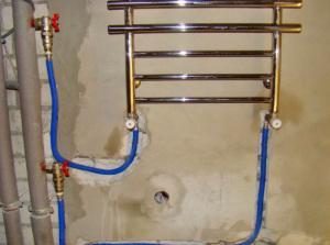 типичный полотенцесушитель, схема подключения прибора